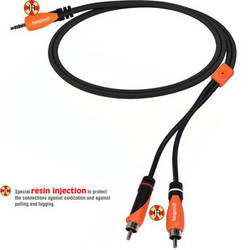 Bespeco 3.5mm Stereo Jack to 2 RCA Male Interlink Cable (Black/Orange, 6')
