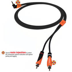 Bespeco Right Angle 3.5mm Stereo Jack to 2 RCA Male Interlink Cable (Black/Orange, 6')