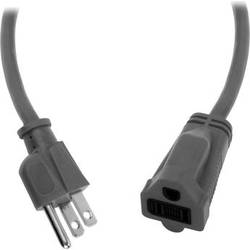 Watson AC Power Extension Cord (14 AWG, Gray, 3')