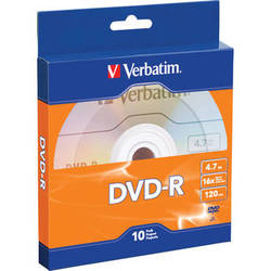 Verbatim DVD-R 4.7GB/120 Minutes 16X Disc (Pack of 10)