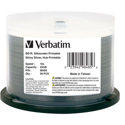 Verbatim BD-R 25GB 6X Disc (Shiny Silver, Spindle Pack of 50)
