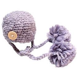 Custom Photo Props Double Pom Chunky Newborn Hat (Lilac Purple)