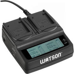Watson Duo LCD Charger with 2 NB-6L, NB-6LH or DMW-BCM13 Battery Plates
