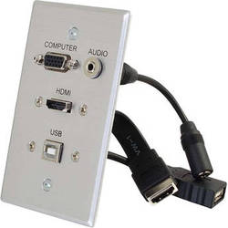 C2G HDMI, VGA, 3.5mm Audio and USB Pass Through Single Gang Wall Plate (White)