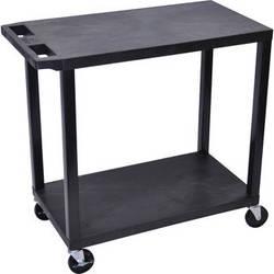 "Luxor EC22-B 32 x 18"" Two-Shelf Plastic Utility Cart (Black)"