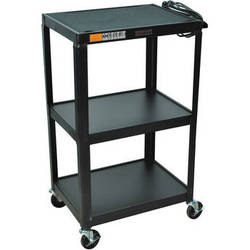 "H. Wilson W42E  Fixed Height Utility Cart - 24 x 42 x 18"" (Black)"