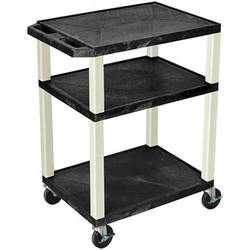 """Luxor 34"""" Tuffy Open Shelf A/V Cart with 3 Shelvesand 3-Outlet Electrical Assembly (Black Shelves, Putty Legs)"""
