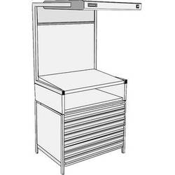 GTI EVS-3052/FD/TS Executive Viewing Station with Flat File Drawers and Table Stand
