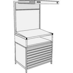 GTI EVS-2540/TS/FD Executive Viewing Station with Table Stand and Flat File Drawers