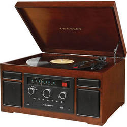 Crosley Radio Patriarch Sound System with Turntable, CD-Player, and AM/FM Radio (Mahogany)