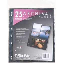 "Print File Premium Series-S Archival Storage Page for Prints, 4x6"" - 25 Pack"
