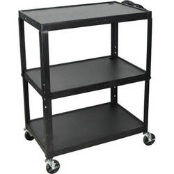 H. Wilson AVJ42XL Steel Adjustable Height Extra Large AV Cart - Black