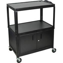 H. Wilson AVJ42XLC Steel Adjustable Height Extra Large AV Cart with Cabinet - Black