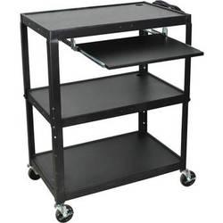 H. Wilson AVJ42XLKB Steel Adjustable Height Extra Large AV Cart with Keyboard Shelf - Black