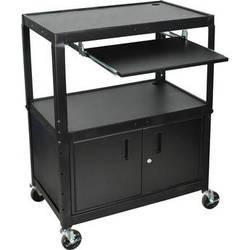 H. Wilson AVJ42XLKBC Steel Adjustable Height Extra Large AV Cart with Keyboard Shelf and Cabinet - Black