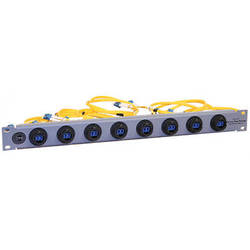 Tactical Fiber Systems Patch Panel with 8 BullsEye Duo Chassis Connectors & Patch Cables with LC Breakouts