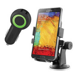 iOttie Easy One Touch XL Car Mount Holder with USB Charger Kit (Black Charger)