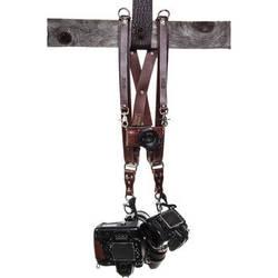 HoldFast Gear Money Maker 3-Camera Leather Harness (Burgundy, Silver Hardware, Medium)