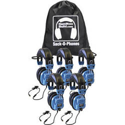 HamiltonBuhl Sack-O-Phones SC-AMV Personal Headphones with Microphone (5-Pack)
