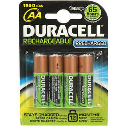 Duracell StayCharged AA NiMH Rechargeable Batteries (4-Pack, 1.2V, 1950mAh)