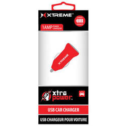 Xtreme Cables 1-Port 1A USB Car Charger (Red)