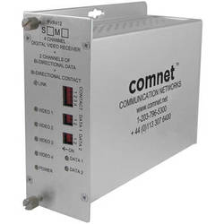 COMNET FVR412M1 4-Channel 10-Bit Digitally Encoded Video Receiver with 2 Bi-Directional Data Channels and 1 Bi-Directional Contact Closure (Multimode, 1310nm)