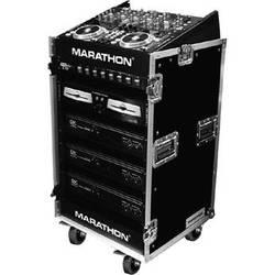 Marathon 10U Slant Mixer Rack / 16U Vertical Rack System with Caster Board (Light Medium Duty)