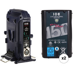 IDX System Technology 2x DUO-150 V-Mount Batteries & 2-Ch Charger/Power Supply Kit