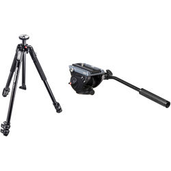 Manfrotto MT190X3 3-Section Tripod with MVH500AH Fluid Video Head Kit