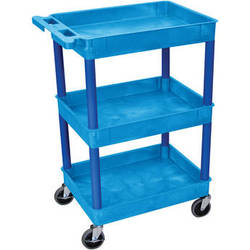 "Luxor 24 x 18"" Three-Shelf Utility Cart (Blue)"