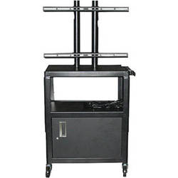 """Vutec Adjustable Flat Panel Cart with Locking Cabinet and Twin Post Design (26 to 42"""" Adjustable Height)"""