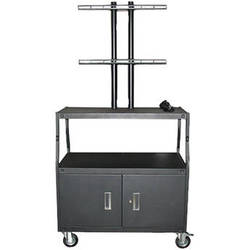 """Vutec Adjustable Flat Panel Cart with Locking Cabinet and Twin Post Design (34 to 54"""" Adjustable Height)"""