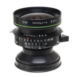 Caltar Wide Angle 75mm f/6.8 N-II Large Format Lens with a Copal 0 Shutter