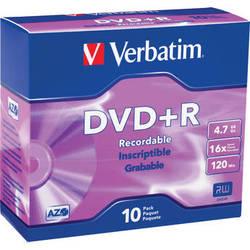 Verbatim DVD+R 4.7GB 16x Recordable Discs with Slim Case (10-Pack)
