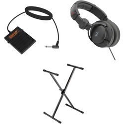 B&H Photo Video X-Stand with Headphones and Foot Switch - Keyboard Essentials Bundle