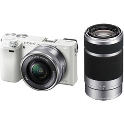 Sony Alpha a6000 Mirrorless Digital Camera Kit with 16-50mm and 55-210mm Lenses (White)