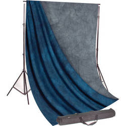Backdrop Alley Studio Kit with Stand and 10 x 12' Reversible Premium Muslin Backdrop (Blue Lake and Nickel)