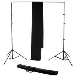 Backdrop Alley Studio Kit with Stand and 10 x 12' Premium Muslin Backdrop (Black)
