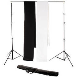Backdrop Alley Studio Kit with Stand and Two 10 x 12' Premium Muslin Backdrops (Black and White)