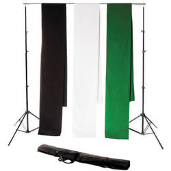 Backdrop Alley Studio Kit with Stand and Three 10 x 12' Premium Muslin Backdrops (Black, White, Chroma-key Green)