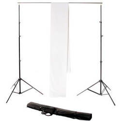 Backdrop Alley Studio Kit with Stand and 10 x 12' Premium Muslin Backdrop (White)