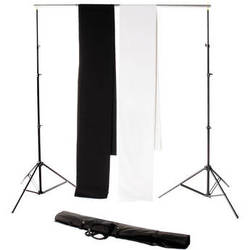 Backdrop Alley Studio Kit with Stand and Two 10 x 24' Premium Muslin Backdrops (Black and White)