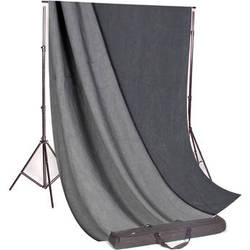Backdrop Alley Studio Kit with Muslin Backdrop (10 x 24', Charcoal / Lighter Gray)
