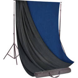 Backdrop Alley Studio Kit with Stand and 10 x 24' Reversible Premium Muslin Backdrop (Medium Blue and Graphite)