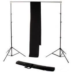 Backdrop Alley Studio Kit with Stand and 10 x 24' Premium Muslin Backdrop (Black)