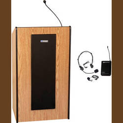 AmpliVox Sound Systems Presidential Plus Lectern with Sound System and Wireless 16 Channel UHF Lapel and Headset Mic Kit (Medium Oak)