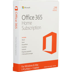 Microsoft Office 365 Home (5 PC or Mac Licenses / 1-Year / Product Key Code)