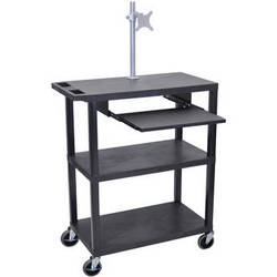 "Luxor EA42LME-B 42"" Fixed-Height Presentation Cart (Three Shelves, Pull-Out Shelf and Monitor Mount)"