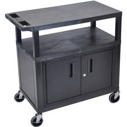 "Luxor EA34CE-B 34"" Fixed Height Presentation Cart (2 Sheves and Cabinet)"