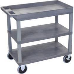 Luxor EC122HD-G 18 x 35 Cart (Tub, 2-Shelf, HD, Grey)